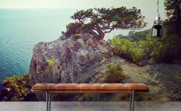 Fototapet med träd och havet