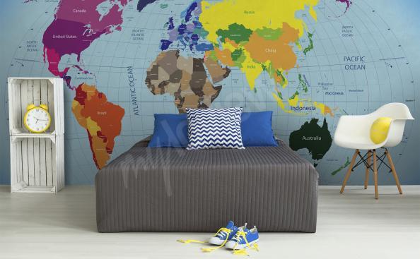 Fototapet med världskarta kontinenter