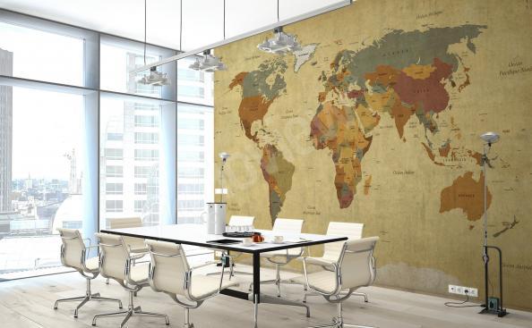 Fototapet med världskarta till kontoret