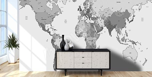Fototapet svartvit världskarta