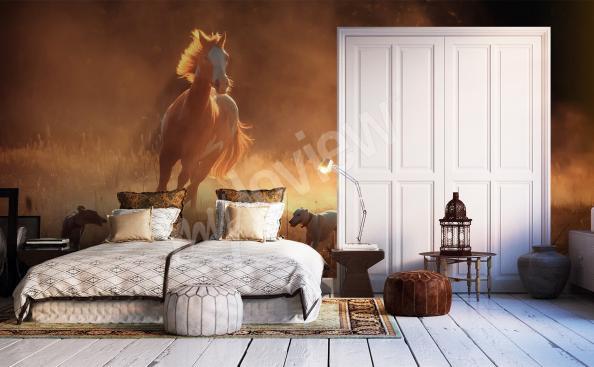 Fototapet till sovrum med häst