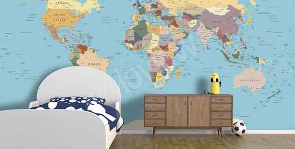 Fototapet världskarta för barn
