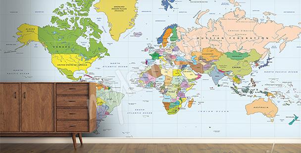 Fototapet världskarta för hallen