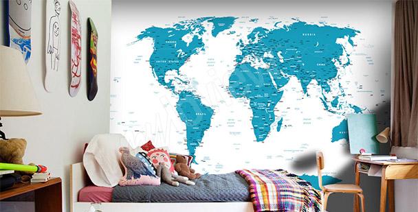 Fototapet världskarta för rummet
