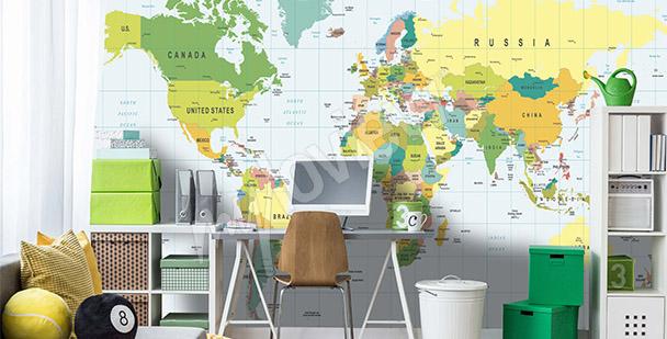 Fototapet världskarta för tonåring
