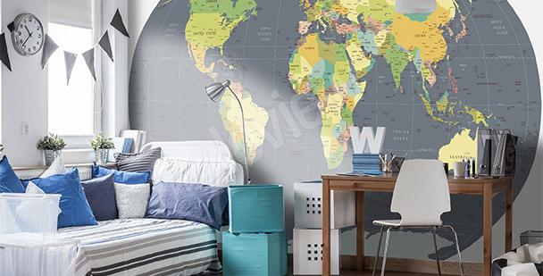 Fototapet världskarta jordklotet