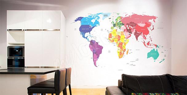 Fototapet världskarta matsalen