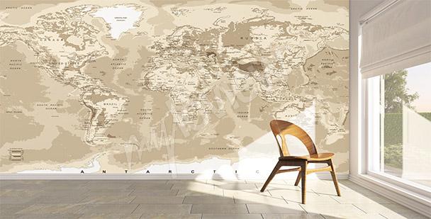 Fototapet världskarta retro