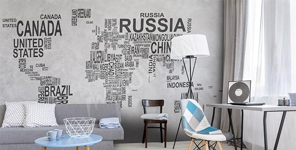 Fototapet världskarta text