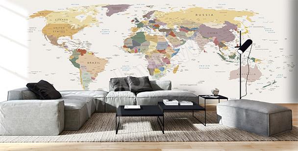 Fototapet världskarta vardagsrum