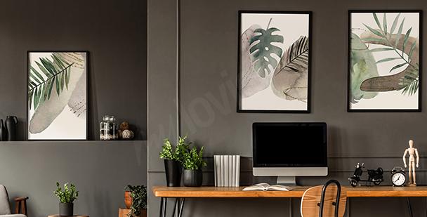 Geometrisk affisch med blad