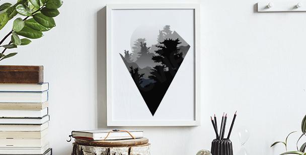 Minimalistisk affisch med berg