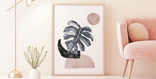 Minimalistisk affisch med monstera