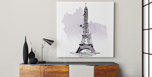 Minimalistisk canvastavla av Eiffeltornet
