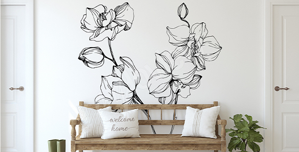 Minimalistisk väggdekor med orkidé