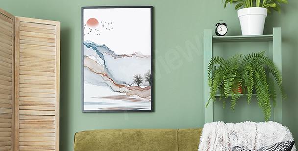 Modern affisch med landskap