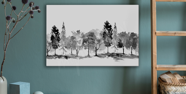 Monokromatisk canvastavla med park