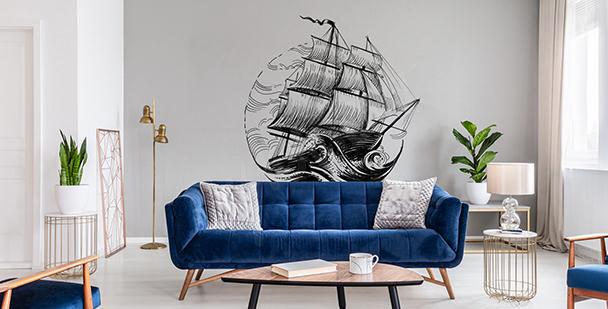 Monokromatisk väggdekor med båt