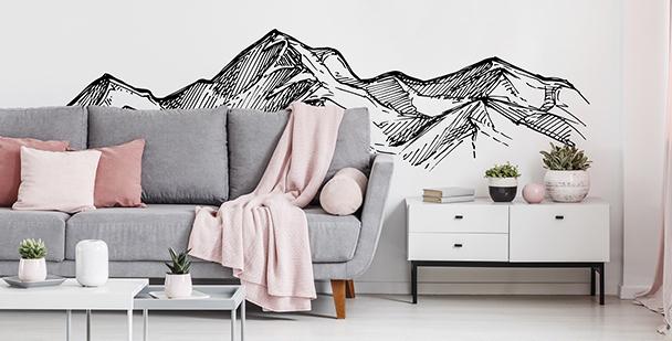Monokromatiskt väggdekor med berg