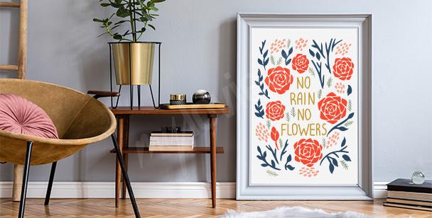 Motiverande affisch och blommor