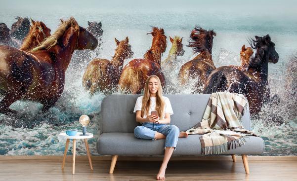 Pastellfärgad fototapet med hästar igalopp