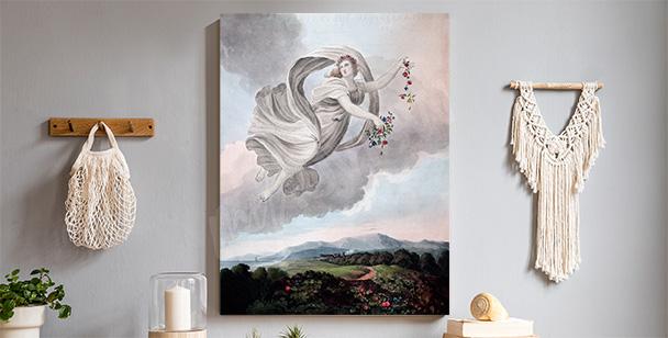 Pastellfärgad tavla med ängel