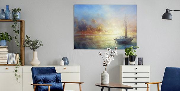 Pastellfärgad tavla med båt