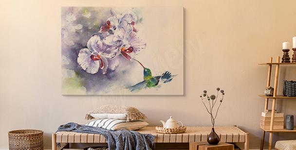Pastelltavla med orkidé