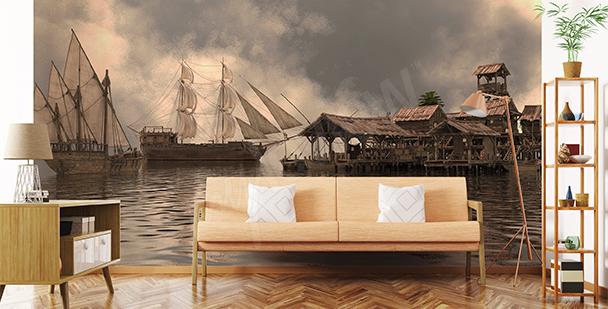 Rumslig fototapet med båtar