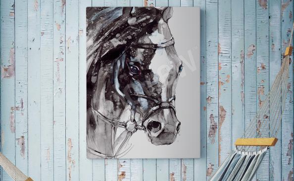Rustisk canvastavla med häst