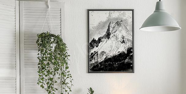Svartvit affisch med berg