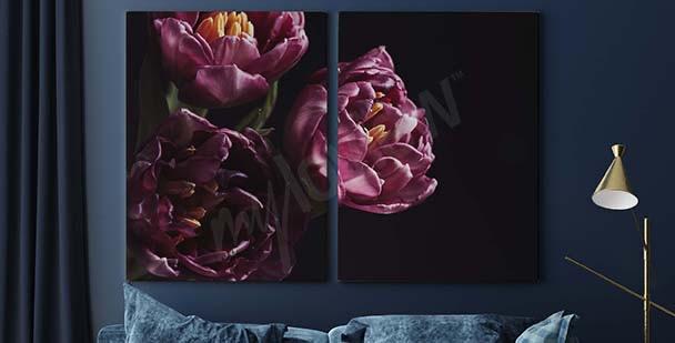 Tavla med lila bukett
