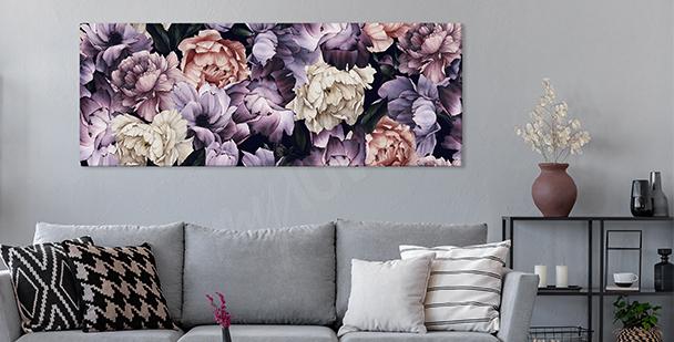 Tavla med lila pioner