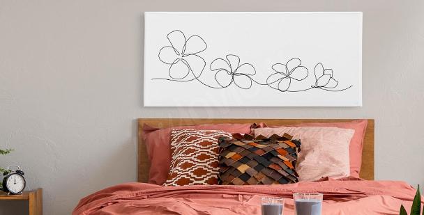 Tavla med Lineart blommor