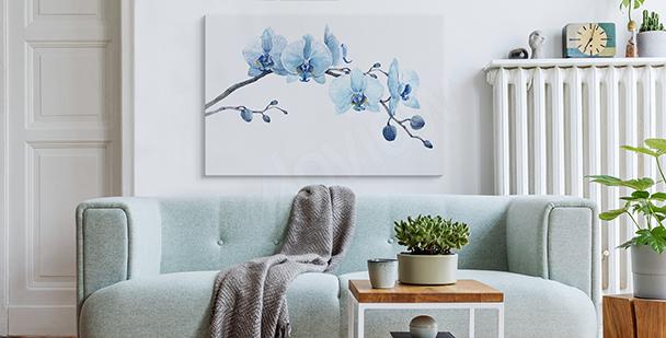 Tavla med orkidéer i akvarell