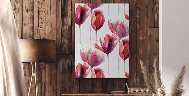 Tavla med röda tulpaner