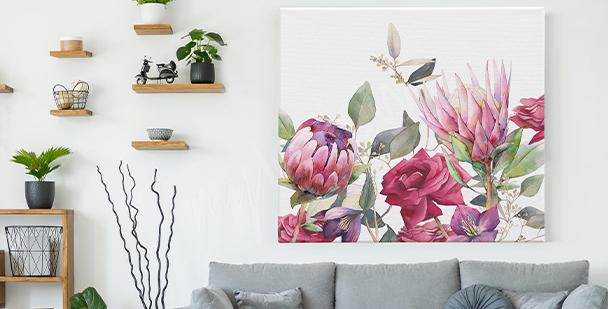 Tavla med rosa blommor