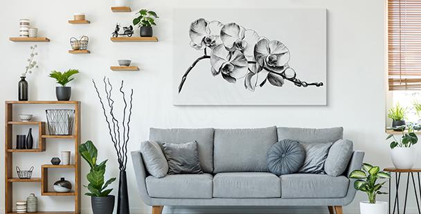 Tavla med svartvita blommor