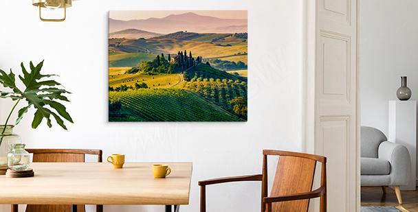 Tavla med Toskanien vid solnedgången