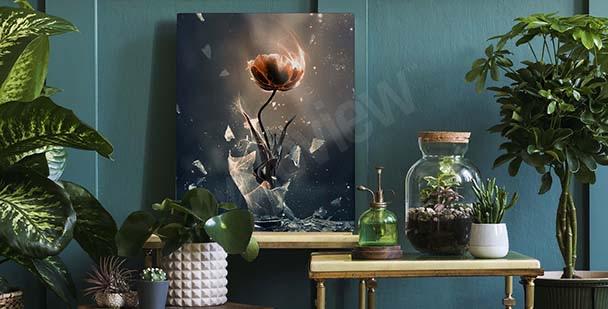 Tavla med tulpan i en vas