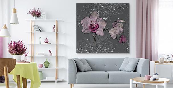 Tavla orkidé på grå bakgrund