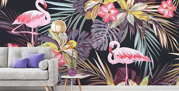 Tropisk fototapet med rosa flamingos