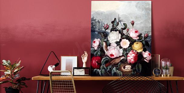 Uttrycksfull tavla i floral style