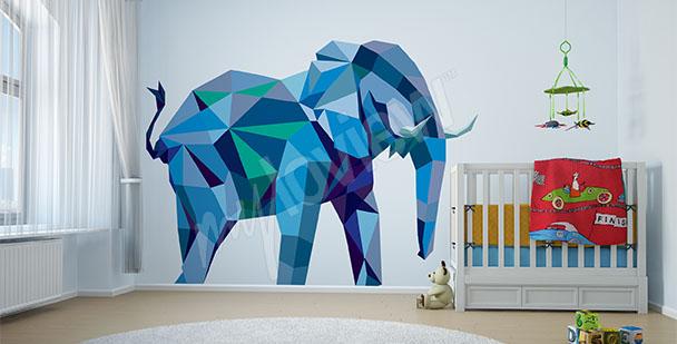 Väggdekor en blå elefant
