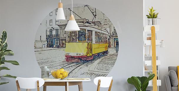 Väggdekor gul spårvagn till matsalen