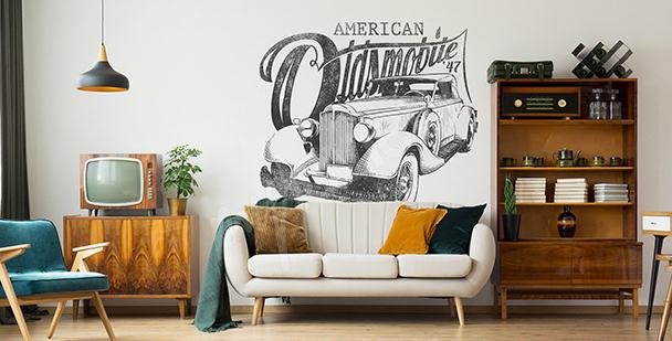 Väggdekor med amerikansk bil