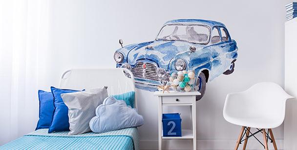 Väggdekor med bil som är målad akvarell