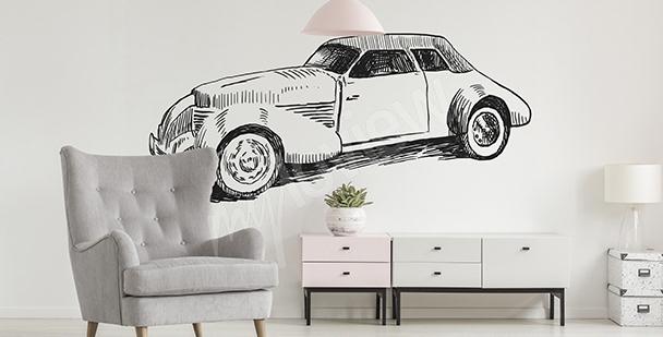 Väggdekor med gammal bil