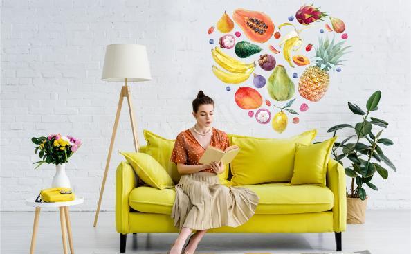 Väggdekor med tropiska frukter