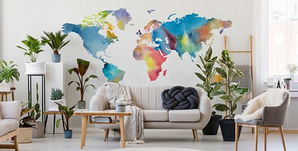 Väggdekor med världskarta i akvarell